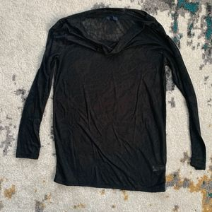 Gap Black Design Sheer Long Sleeve Shirt